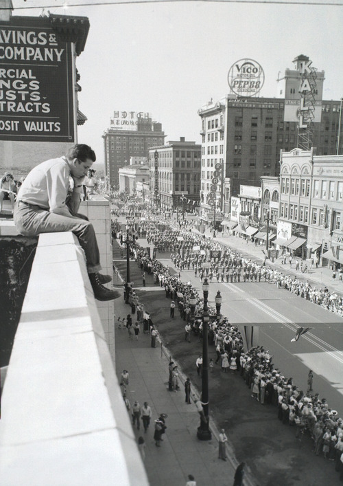 Tribune file photo  A man gets a bird's-eye-view of the Days of '47 Parade on July 24, 1947.