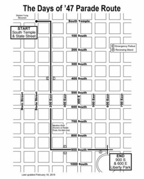 Map of road restrictions for Days of '47 Parade. (SLCPD)