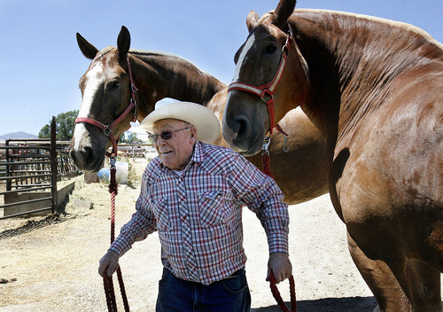 Scott Sommerdorf  |  The Salt Lake Tribune Jack McKee, 92, puts away his Belgian draft horses, Tom and Jasper. McKee is famous for his pulling horses. He and his team of Belgian draft horses will be featured during the Days of '47 festivities.