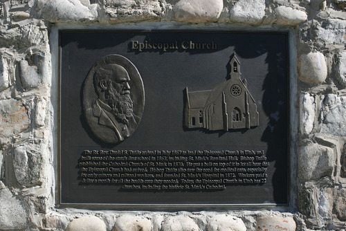 Francisco Kjolseth  |  The Salt Lake Tribune Plaques representing the early pioneer faiths are on display at This is the Place State Park in Salt Lake City.