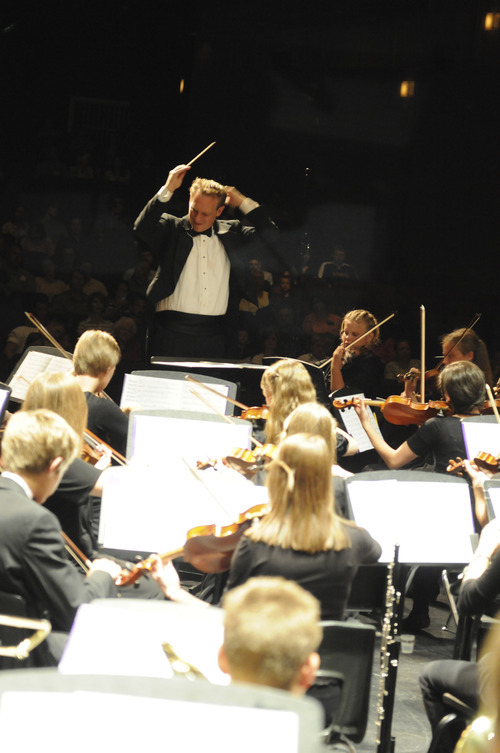 Kayson Brown conducts the Lyceum Music Festival orchestra. Courtesy Photo
