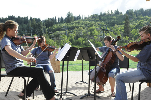 Students rehearse a string quartet at the Lyceum Music Festival. Courtesy Photo