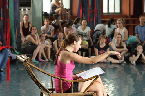 SUU student Bethany Hess (center) rehearses with the Hubei Opera and Dance Drama Theatre in Wuhan, China, to prepare for world-premiere performances of
