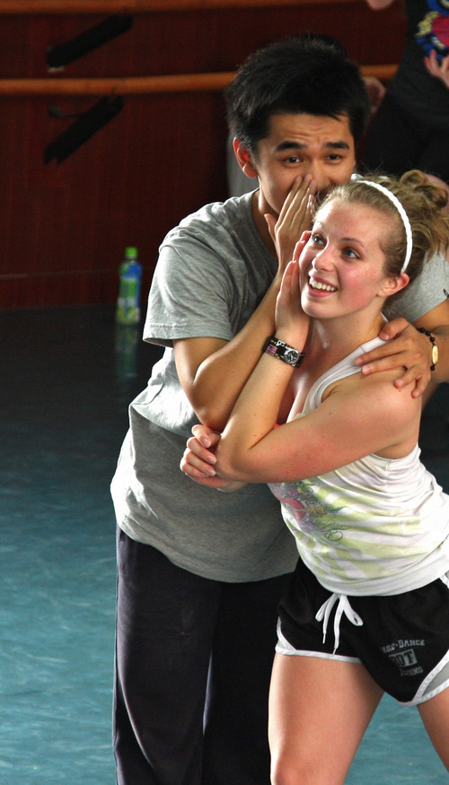 Southern Utah University dancer Alexandria Wall rehearses a world-premiere dance-drama,