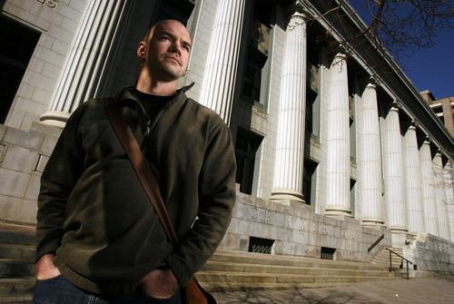 Francisco Kjolseth  |  The Salt Lake Tribune Climate activist Tim DeChristopher is awaiting sentencing on July 26 at Salt Lake City's federal courthouse. File photo.