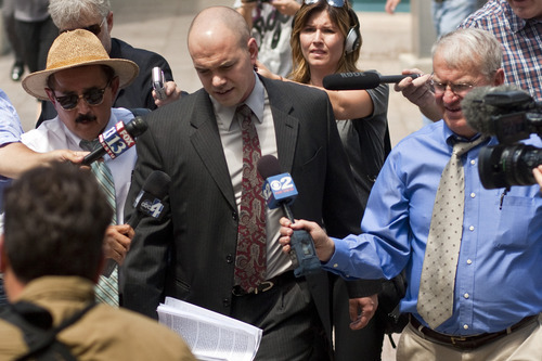 Chris Detrick | The Salt Lake Tribune  Tim DeChristopher arrives at the Federal Courthouse in Salt Lake City for his sentencing Tuesday, July 26, 2011. DeChristopher, the 29-year-old climate activist turned environmental folk hero, was sentenced Tuesday to spend two years in prison for disrupting a federal oil and gas lease auction, and fined $10,000.