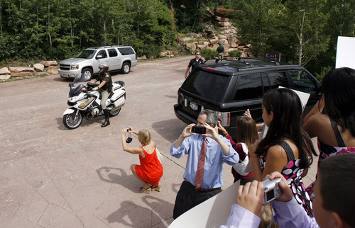 Francisco Kjolseth  |  The Salt Lake Tribune Michelle Obama's convoy arrives late at a gated community in Park City on Tuesday, July 26, 2011, where she is hosting a fundraiser for her husband's reelection campaign.
