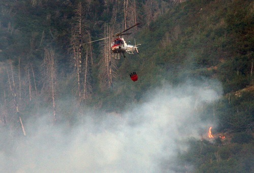 Steve Griffin  |  The Salt Lake Tribune  Firefighters, lower left, watch Wednesday as a helicopter drops a bucket of water on a hot spot of a wild fire burning above Farmington.