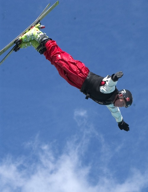 USA ski team member Jeret Peterson, an  eyes the landing pool at the Winter Sports Park in Park City during media day. Griffin/photo