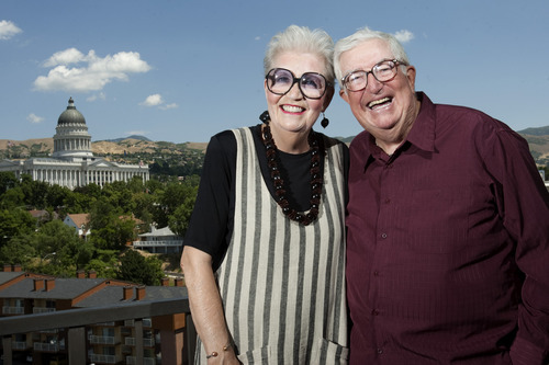 Chris Detrick | The Salt Lake Tribune  Former Utah Jazz Coach Frank Layden and his wife, Barbara.