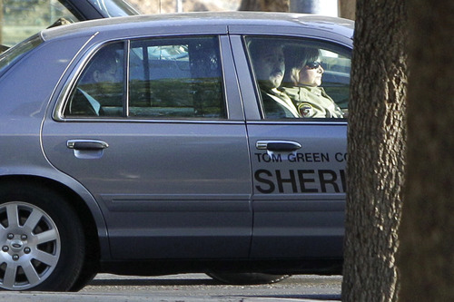 Tony Gutierrez     The Associated Press  Polygamous sect leader Warren Jeffs arrives in a law enforcement vehicle at the Tom Green County Courthouse in San Angelo, Texas, for the second day of his sexual assault trial on Friday. Jeffs is charged with two counts of sexual assault of a child at a compound south of the oil and gas town of San Angelo.
