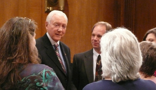 MATT CANHAM  |  The Salt Lake Tribune Sen. Orrin Hatch talks with David Kirkham and other tea party Republicans who are opposing his reelection campaign. The meeting occurred just one day after the activists picketed the National Republican Senatorial Committee to oppose the group's support of Hatch before any GOP primary.