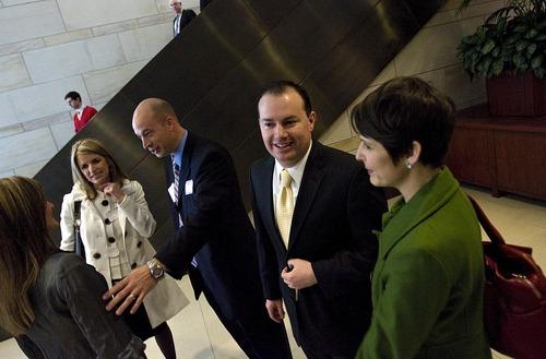 Djamila Grossman  |  The Salt Lake Tribune  Sen. Mike Lee, R-Utah, talks to his friend Deena Svendsen before being sworn in as a Senator on Capitol Hill in Washington, D.C., Wednesday, Jan. 5, 2011.
