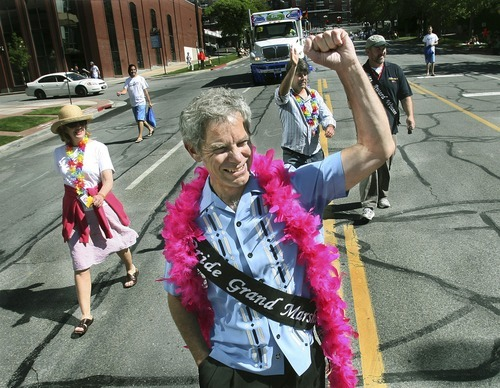 Scott Sommerdorf  |  The Salt Lake Tribune  In this file photo, Salt Lake City Mayor Ralph Becker leads the 2008 Utah Pride Parade as grand marshal.