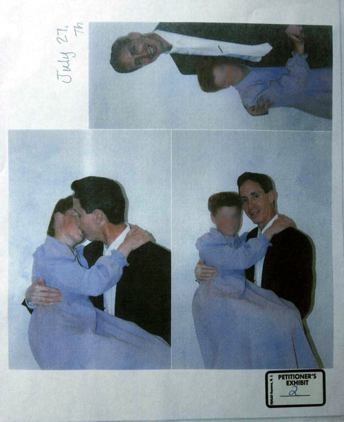 San Angelo - Photographs submitted into evidence in a court hearing Friday, May 23, 2008, showing FLDS leader Warren Jeffs with a young girl. Photos dated July 27, 2006. The Salt Lake Tribune blurred the photo because we do not show victims of a potential sex crime. Trent Nelson/The Salt Lake Tribune; 5.23.2008
