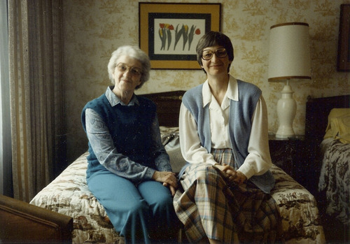 Alice Siddoway Thatcher, left, with her daughter Laurel Thatcher Ulrich circa 1985. Courtesy Exponents II