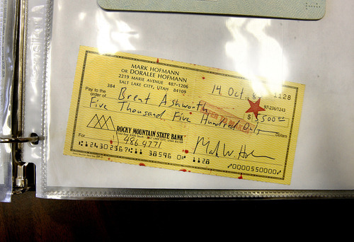 Scott Sommerdorf  |  The Salt Lake Tribune A check made out to collector Brent Ashworth by Mark Hofmann dated October 14, 1985.