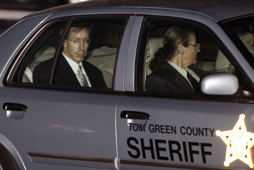 Polygamist leader Warren Jeffs, left, is driven away from the Tom Green County Courthouse by Sheriff's personnel Tuesday, Aug. 2, 2011, in San Angelo, Texas. A West Texas jury has heard audio recordings and diary accounts of polygamist leader Jeffs teaching his 14-year-old