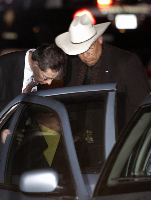 Polygamist religious leader Warren Jeffs, left,  is placed into a waiting vehicle outside the Tom Green County Courthouse Tuesday, Aug. 2, 2011, in San Angelo, Texas. Polygamist religious leader Warren Jeffs, center, is escorted out of the Tom Green County Courthouse Tuesday, Aug. 2, 2011, in San Angelo, Texas. A West Texas jury has heard audio recordings and diary accounts of Jeffs teaching his 14-year-old