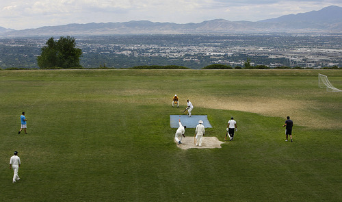 Scott Sommerdorf  |  The Salt Lake Tribune Salt Lake Cricket Union captain Nasir Khan, a former professional cricket player. and his team played Sunday July 31, 2011 at Terrace Hill Park in Salt Lake City.