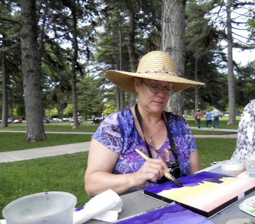 Suzanne Ashe | Special to The Salt Lake Tribune Linda Moffitt teaches watercolor painting in Liberty Park every Monday evening (excluding holidays) during the summer months from 6:30 pm until dusk.