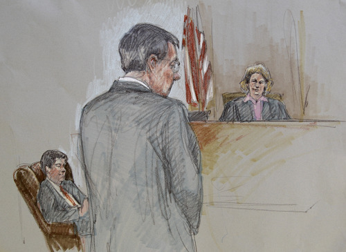 In this courtroom sketch, Polygamist religious leader Warren Jeffs, center, stands in silence as 51st District Judge Barbara Walther, right, and a court employee, left, are shown during the defenses closing arguments at Tom Green County Courthouse Thursday Aug. 4, 2011, in San Angelo, Texas. (AP Photo/Brigitte Woosley)