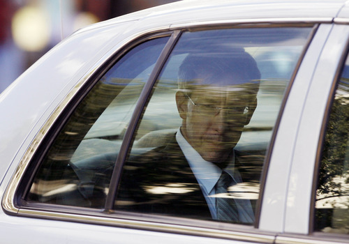 Warren Jeffs looks out the back of a Tom Green County Sheriff's Department car Thursday, Aug. 4, 2011, after leaving the Tom Green County Courthouse, in San Angelo, Texas. A Texas jury convicted polygamist sect leader Warren Jeffs of child sexual assault on Thursday, in a case stemming from two young followers he took as brides in what his church calls