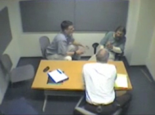 A still image from the Brian David Mitchell interrogation.
