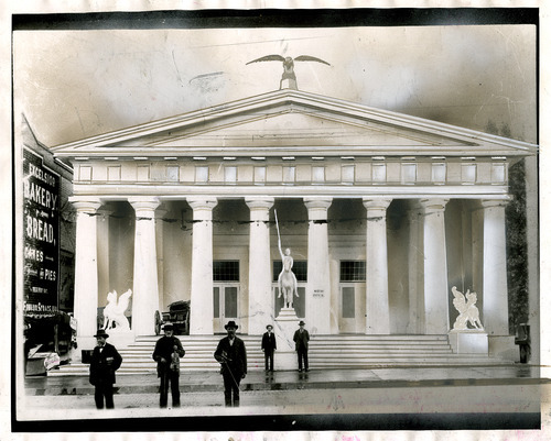 Salt Lake Tribune file photo  A string band poses on the steps of Salt Lake City's Hall of Relics during the dedication of the Brigham Young Monument in July, 1897.
