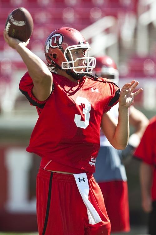 Chris Detrick  |  The Salt Lake Tribune Utah Ute quarterback Jordan Wynn during a practice at Rice-Eccles Stadium Saturday August 6, 2011.