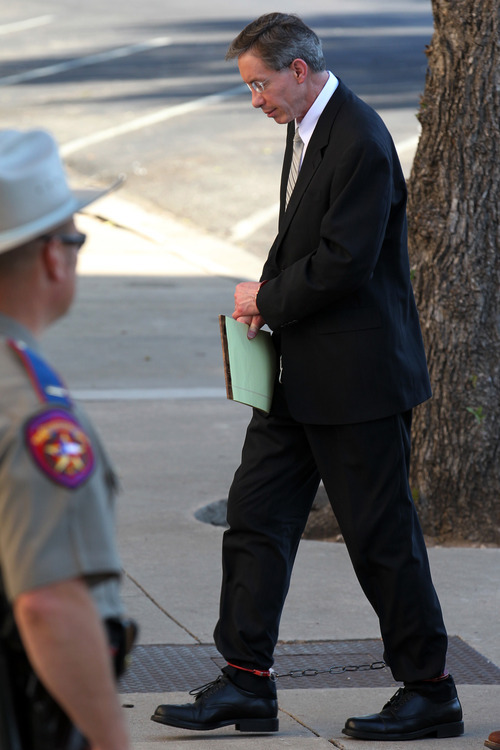 Polygamist religious leader Warren Jeffs arrives at the Tom Green County Courthouse, Saturday, Aug. 6, 2011, in San Angelo, Texas. Jeffs was found guilty on two counts of sexual assault of a child Thursday and chose not to be present in the courtroom during the penalty phase. Defense attorney Deric Walpole is now representing Jeffs. (AP Photo/San Angelo Standard-Times, Patrick Dove)