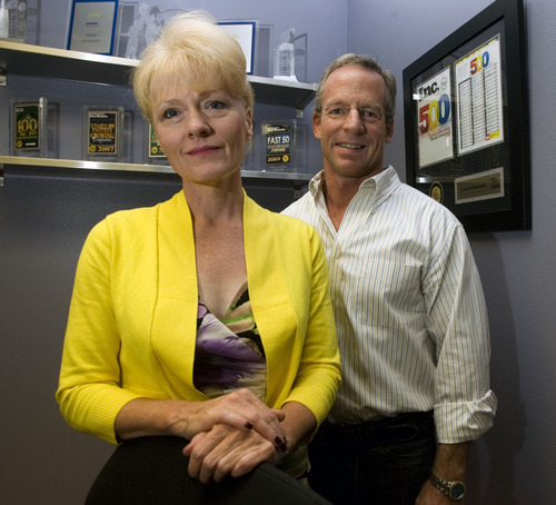 Al Hartmann  |  The Salt Lake Tribune Fishbowl's President Mary Scott, left, and CEO David Williams.