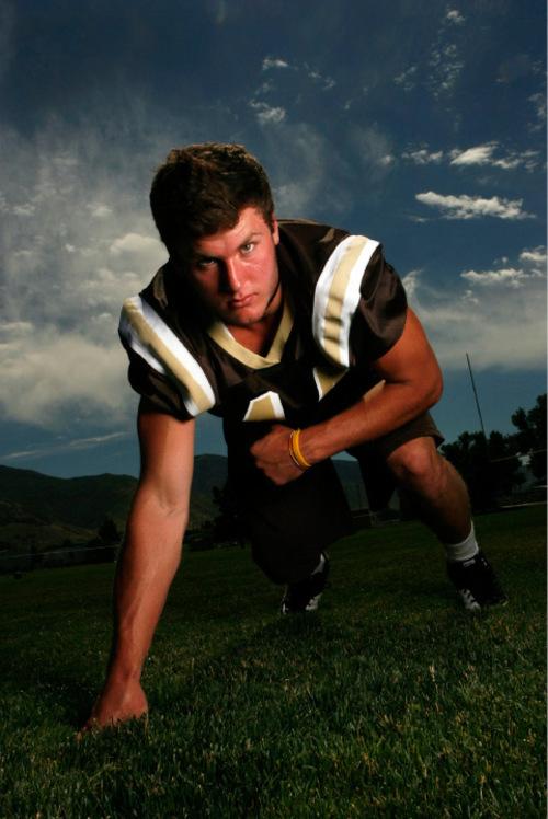 Francisco Kjolseth  |  The Salt Lake Tribune  Troy Hinds - defensive end at Davis High