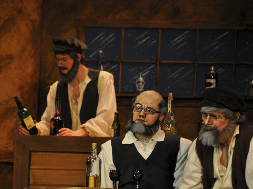 Left to right, Klint Gardner (Mordcha), Evan Connell (Lazar Wolf), and Aaron Wilcox (Tevye). Wilcox, a senior at Legacy Preparatory, was named Best High School Actor by the Utah High School Musical Awards for his performance at the school's production of Fiddler on the Roof. Courtesy photo