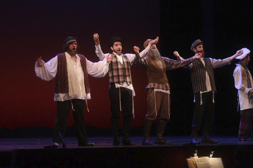 Left to right, Aaron Wilcox, Jon Caliendo, Max Gottschall, Luke Halferty, and Mackenzie Orr. Wilcox, a senior at Legacy Preparatory, was named Best High School Actor by the Utah High School Musical Awards for his performance at the school's production of Fiddler on the Roof. Courtesy Photo