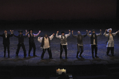 Left to right, Ryan McCartan, Mitchell Jones, John Michael Taormina, Aaron Wilcox, Jon Caliendo, Max Gottschall, Luke Halferty, and Mackenzie Orr. Wilcox, a senior at Legacy Preparatory, was named Best High School Actor by the Utah High School Musical Awards for his performance at the school's production of Fiddler on the Roof. Courtesy Photo