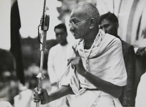 Mahatma Gandhi in a photo from a period album collected by AP reporter James A. Mills, ca. 1931. (AP Photo/James A. Mills)