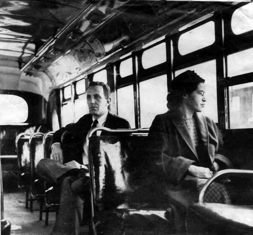 Associated Press file photo This an undated photo shows Rosa Parks riding on the Montgomery Area Transit System bus. Parks refused to give up her seat on a Montgomery bus on Dec. 1, 1955, and ignited the boycott that led to a federal court ruling against segregation in public transportation. In 1955, Montgomery's racially segregated buses carried 30,000 to 40,000 blacks each day.