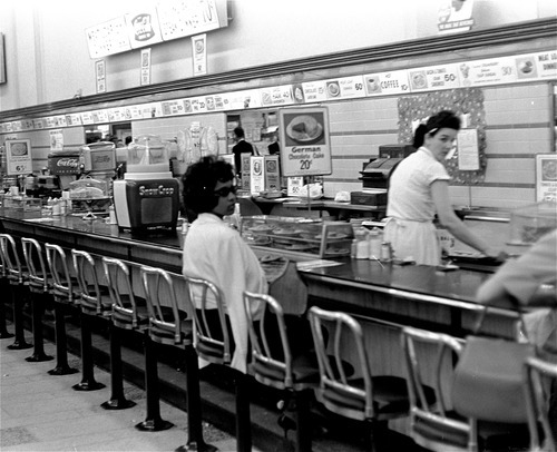 Associated Press file photo Black college student Dorothy Bell, 19, of Birmingham, Ala., waits April 4, 1963 in a downtown Birmingham lunch counter for service that never came.  She was arrested with 20 others in sit-in attempts.
