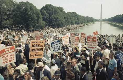 Large crowds gather at the Washington Monument and around the reflecting pool to demonstration for civil rights on March 28, 1963 in Washington, D.C. (AP Photo)