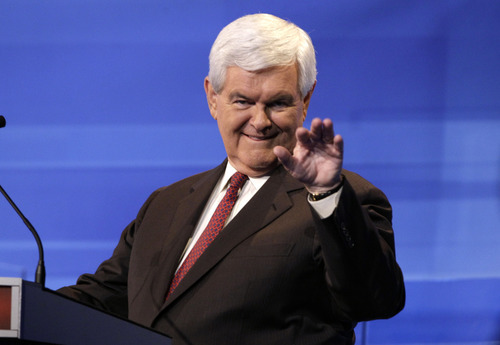 Republican presidential candidate former House Speaker Newt Gingrich is pictured during a commercial break at the Iowa GOP/Fox News Debate at the CY Stephens Auditorium in Ames, Iowa, Thursday, Aug. 11, 2011. (AP Photo/Charlie Neibergall, Pool)