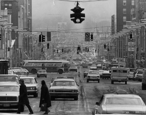 Salt Lake Tribune file photo  This photo shows a view looking south down Main Street in 1974.