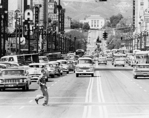 Salt Lake Tribune file photo  A man crosses Main Street in 1960.