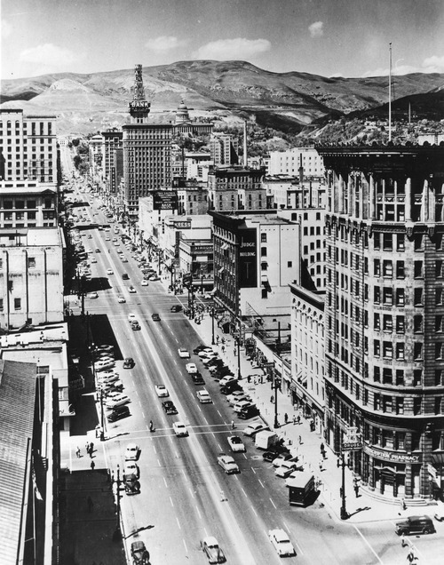 Salt Lake Tribune file photo  A view of Main Street in 1950.