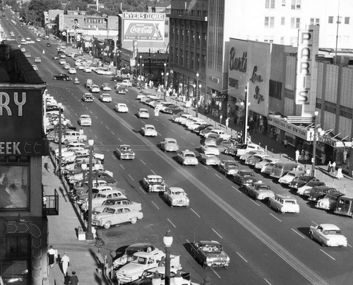Salt Lake Tribune file photo  Cars make their way along 300 South in 1955.