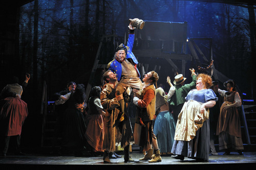 Les Misérables by Cameron Mackintosh, opening night November 28 2010, Paper Mill Playhouse, 22 Brookside Dr., Millburn New Jersey with LAWRENCE CLAYTON (Jean Valjean) ANDREW VARELA (Javert) MICHAEL KOSTROFF (Thénardier) SHAWNA M. HAMIC (Mme. Thénardier) BETSY MORGAN (Fantine) JEREMY HAYS (Enjolras) CHASTEN HARMON (Éponine) JUSTINE SCOTT BROWN (Marius) JENNY LATIMER (Cosette) RON SHARPE (Jean Valjean Alternate)The Company of the New 25th Anniversary of