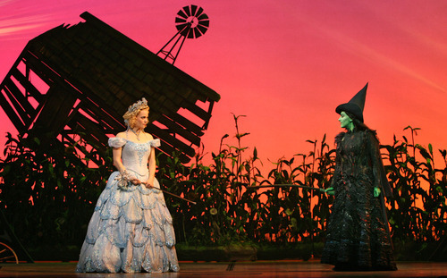 Actors Katie Rose Clarke as Glinda and Donna Vivino as Elphaba perform in Wicked, The Musical.