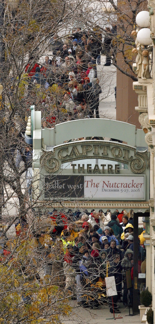 Hundreds wait in line outside the Capitol Theatre in Salt Lake City to buy tickets for the show