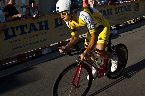 Chris Detrick  |  The Salt Lake Tribune Sergio Luis Henao Montoya competes during the Stage 3 time trial of the Tour of Utah at Miller Motorsports Park Friday August 12, 2011.