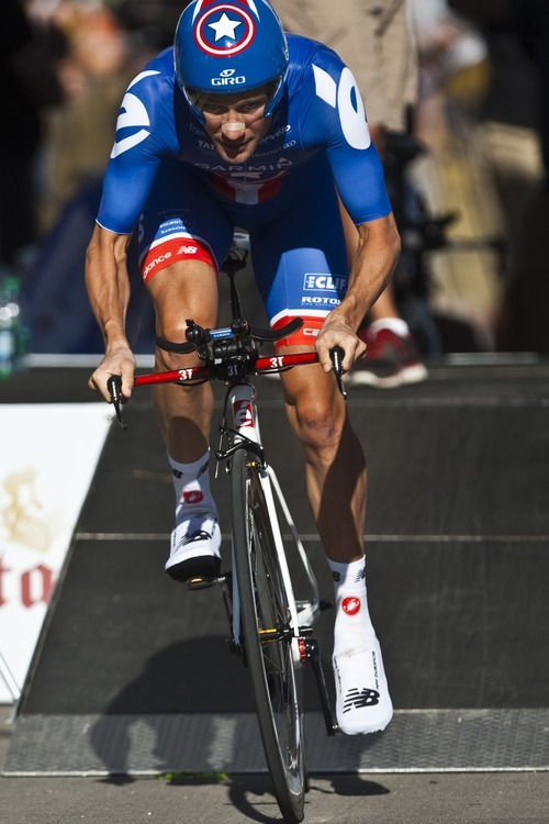 Chris Detrick  |  The Salt Lake Tribune David Zabriskie competes during the Stage 3 time trial of the Tour of Utah at Miller Motorsports Park Friday August 12, 2011.  Zabriskie finished in 11th place.